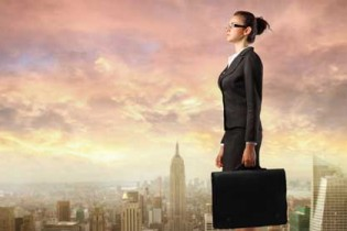 Entrepreneur woman on top of the world
